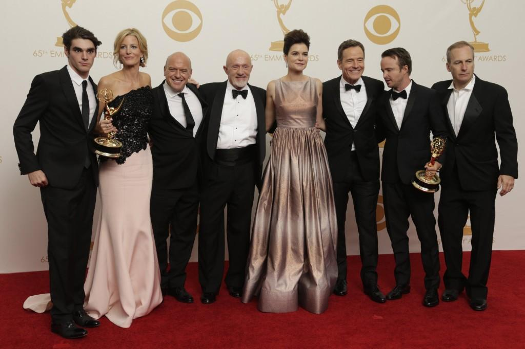 Breaking Bad cast at the 65th Annual Primetime Emmys.