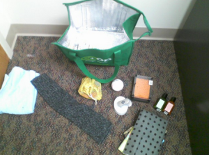 """Students at Ames High are asked to use the items in this """"care bag"""" at the counseling to give sensory input that can help to alleviate the urge to self-harm."""