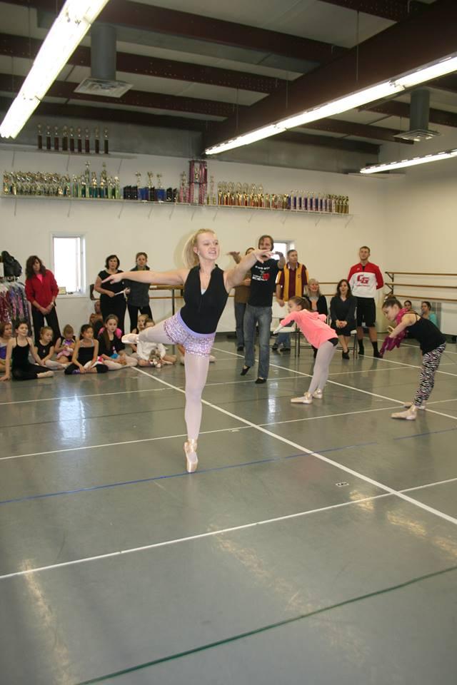 Kelsie Vertanen rehearses one of her rolls, Ballerina Doll, for the Nutcracker.