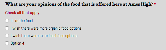 An actual question from a survey sent to the entire student body