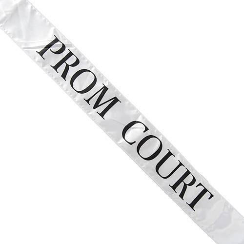 A prom sash usually given to each person on court. Ames High, never one to shy away from being excessive and extravagant, showers each candidate with a gift basket and balloons.