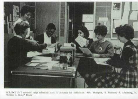 Scratchpad members from the 1963 yearbook judge submitted pieces of literature for publication: Mrs. Thompson, S. Feamster, S. Armstrong, M. Walkup, C. Kirk, P. Routh