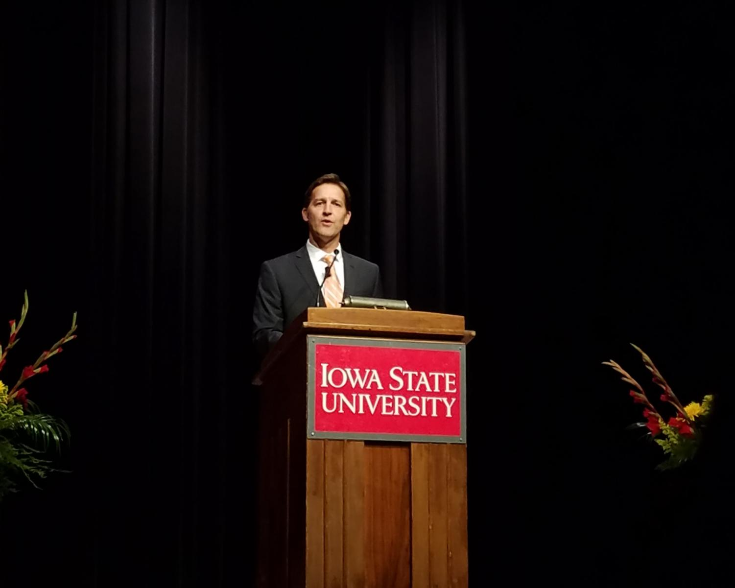Ben Sasse speaks at the great hall in the Iowa State memorial union.