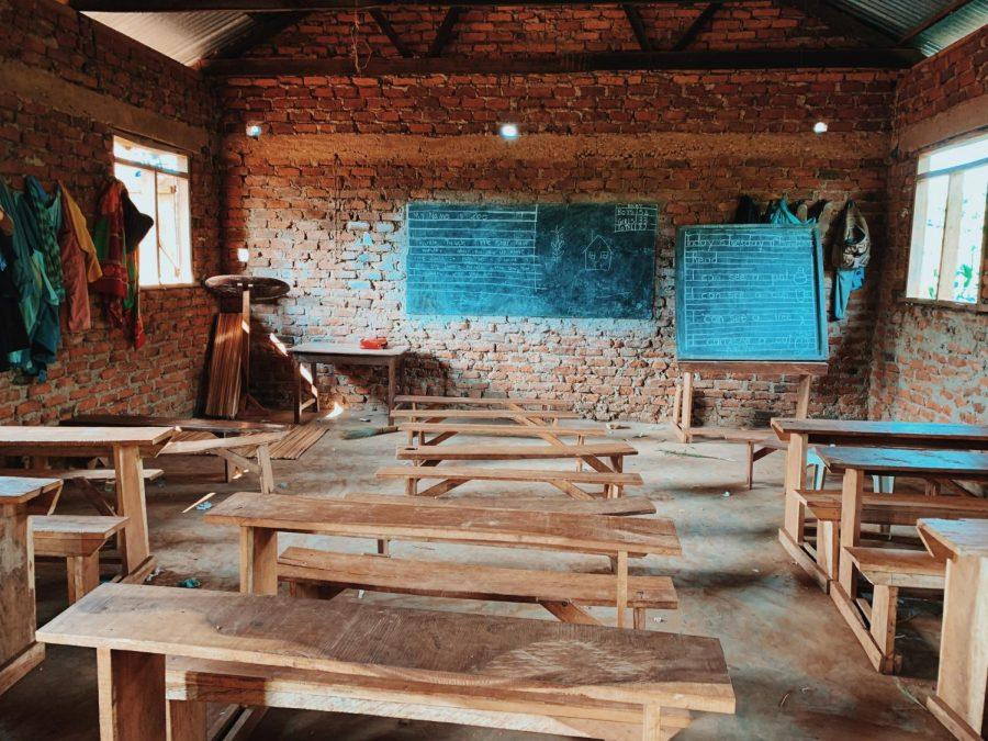 The classroom in Uganda with the lyrics of Twinkle, Twinkle, Little Star written on the board.