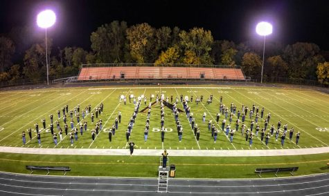 An overhead view of the band on their October 3rd spectacular performance.