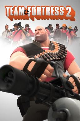 "The cover art of the game. The character ""Heavy"" is posing in the center."