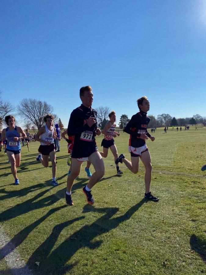 Seniors Bennett Ryken and Nick Grandgenett in their final mile.