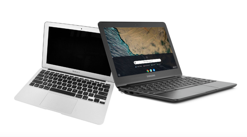 A+side+by+side+comparison+of+the+old+11+inch+MacBook+Airs%2C+to+the+new+third-generation+Google+Chromebooks.