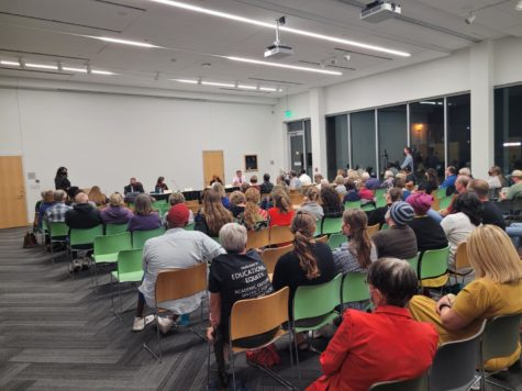 Voters gathered to hear from School Board candidates at the Ames Public Library on October 14th.